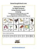 K -  Maine: Geometry, Algebraic, Base 10, Measure& Data, Counting to 100