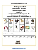 K -  Maryland: Geometry, Algebraic, Base 10, Measure& Data, Counting to 100