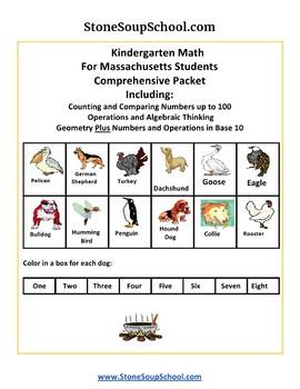K -  Massachusetts: Geometry, Algebraic, Base 10, Measure& Data, Counting to 100