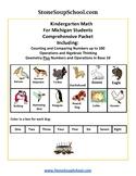 K -  Michigan: Geometry, Algebraic, Base 10, Measure& Data, Counting to 100