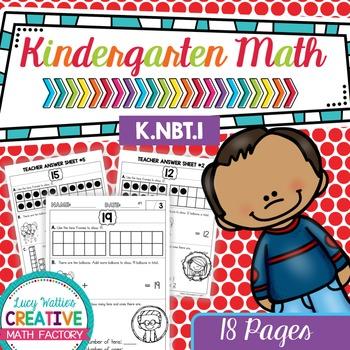Kindergarten Common Core Math | No Prep Worksheets | K.NBT.1