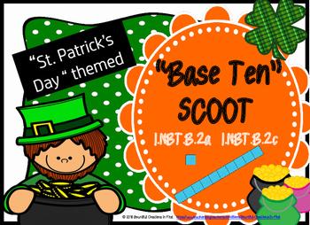 March Math Place Value Base Ten Scoot 1.NBT.B.2 St. Patrick's