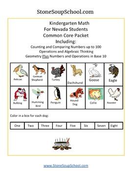 K - Nevada: Geometry, Algebraic, Base 10, Measure & Data, Counting to 100