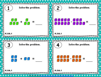 """K.OA.1 Task Cards: """"Represent Addition & Subtraction"""" Task Cards, K.OA.1 Centers"""