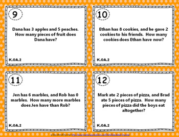 "K.OA.2 Task Cards ""Addition & Subtraction Word Problems"" Task Cards-KOA2 Centers"