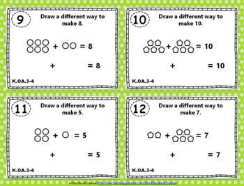 "K.OA.3-4 Task Cards: ""Decompose Numbers & Add to Make 10"" K.OA.3, K.OA.4 Centers"