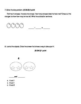 K.OA.3, K.OA.4, K.OA.5 Kindergarten Common Core Standards Assessment