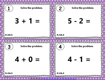 "K.OA.5 Task Cards ""Fluently Add & Subtract within 5"" Task Cards: K.OA.5 Centers"