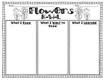 K-W-L Graphic Organizer {Flowers}