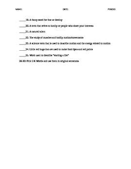 K Words ACT Vocabulary - Quiz