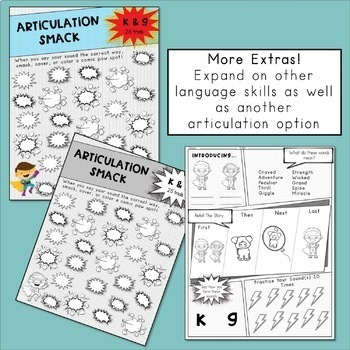 Articulation Activities and Comic Book: Speech Therapy (/k/ and /g/)