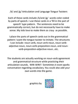 K and G Articulation and Language Tongue Twisters