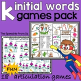 Articulation games for speech therapy k initial words