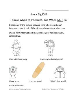K-1 lesson on Interrupting