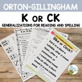 K or CK Orton-Gillingham Spelling Generalizations | Virtua
