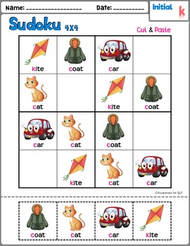 Articulation Activity for Speech Therapy (K sound): Picture Sudoku Game