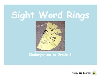K to 3 Sight Word Rings Bundle