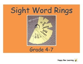 K to 7 Sight Word Rings Bundle