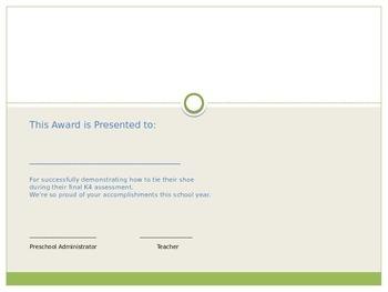 K4 K5 Preschool Kindergarten End of the Year Certificate Award for Tying Shoes