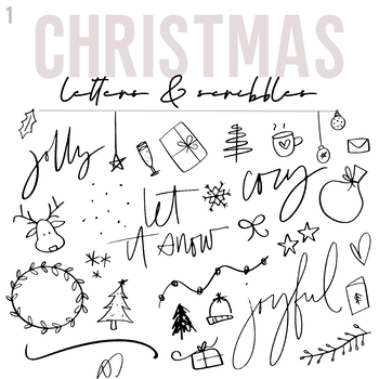 KA Fonts - Christmas Scribbles and Letters [Doodle Font]
