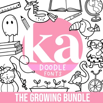 KA Fonts - Doodle Fonts Growing Bundle