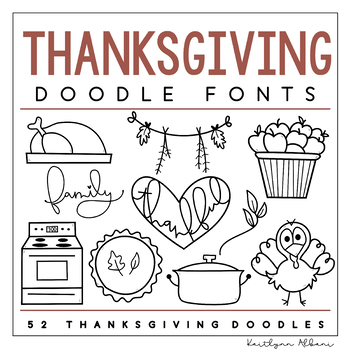 KA Fonts -  Thanksgiving Doodles