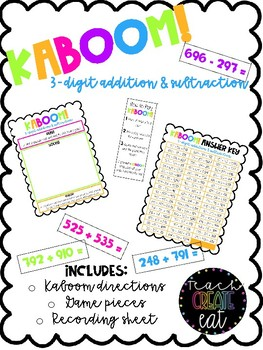 KABOOM! - 3 Digit Addition and Subtraction Game!