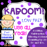 KABOOM Addition Subtraction Missing Addend Patterns Fact Fluency