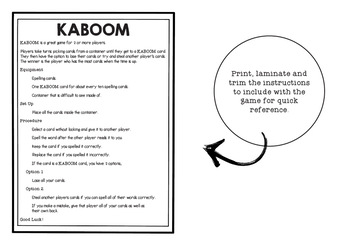KABOOM! C2C Aligned Spelling. Year 6, Term 1, Units 1 and 2.