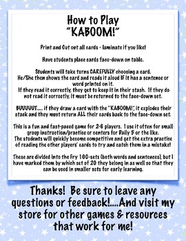 KABOOM! Card Game using 5th 100 Fry Word Sentences