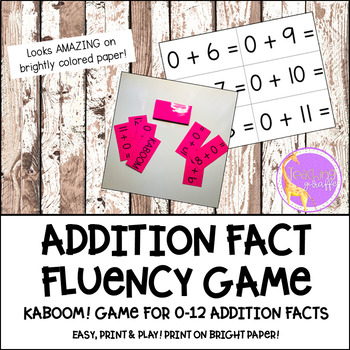 KABOOM Game Addition Facts 0-12