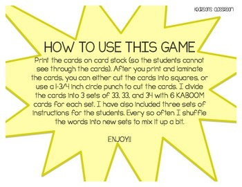 KABOOM Game ~ Fry Words ... Fry's Seventh thru Ninth 100 *Differentiated*