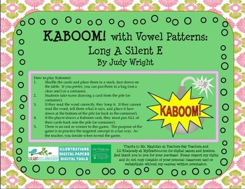 KABOOM! Phonics Game to Practice Long A Silent E Words