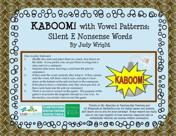 KABOOM! Phonics Game to Practice Silent E Nonsense Words