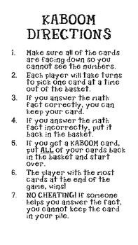 KABOOM Multiplication Math Facts (0-12)