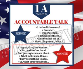 KAGAN + ACCOUNTABLE TALK **Desk Tags**{Patriotic Theme}