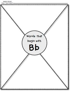 KAGAN Round Table / Beginning Sounds / Alliteration Activity