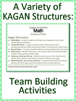 Kagan Round Table Cooperative Learning Kagan Activity Math Task Cards
