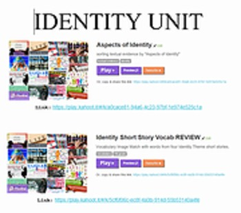 KAHOOT GAME link for IDENTITY Short Story Unit