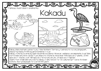 KAKADU  (an Australian landmark) 1 pg info and coloring sheet