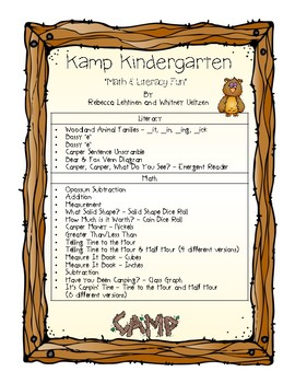 KAMP Kindergarten {Math, Literacy, & Art FUN}