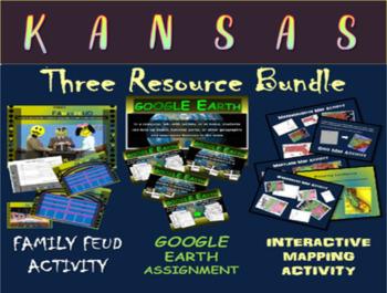 KANSAS 3-Resource Bundle (Map Activty, GOOGLE Earth, Famil