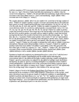 Speech Therapy-KAUFMAN SPEECH PRAXIS TEST EVALUATION REPORT TEMPLATE
