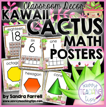 KAWAII CACTUS  Math Posters     Back to School Classroom Decor