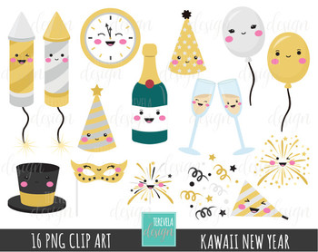 KAWAII NEW YEAR clipart, commercial use, happy new year graphics