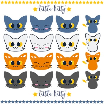 KAWAII kitty clip art set