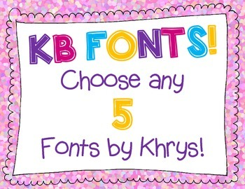 KB Fonts - Personal or Commercial Use: CHOOSE ANY 5 FONTS