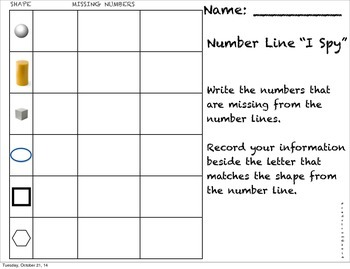 K.CC.2 and K.G.A.2 Number Line Activity with Matching Shapes