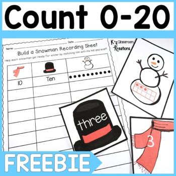 K.CC.3 Snowman Counting 0-20 FREEBIE