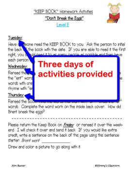 KEEP BOOKS Homework Companion Pages Set 2 for Levels E, F, G, H